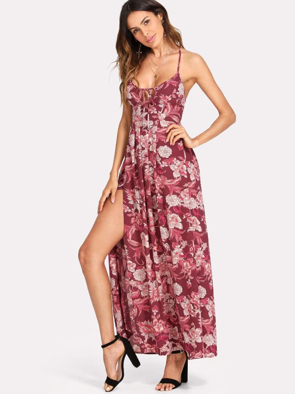 03a0f7b38c Shop Strappy Back Split Side Floral Dress online. SheIn offers Strappy Back  Split Side Floral Dress & more to fit your fashionable needs.