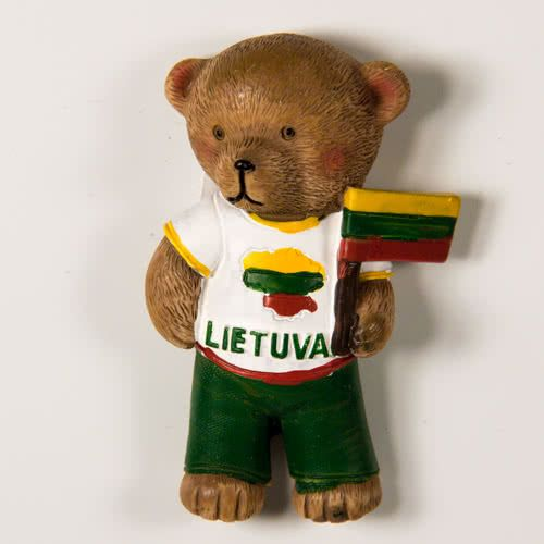 Resin Fridge Magnet: Lithuania. Bear Wearing T-Shirt With Lithuanian Map and Flag
