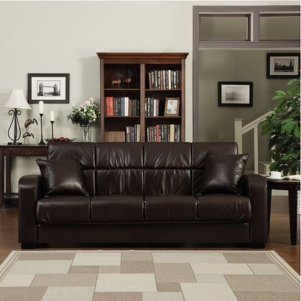 Leather Loveseat Sofa Sleeper Couch Bed Lounge Futon Living Room Love Seat New  #Traditional #LivingRoom