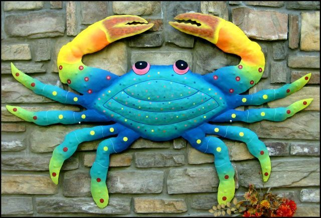 Painted Metal Art Crab Wall Decor 21 Blue Crab Metal Wall Art Coastal Metal Wall Decor Garden Decor Tropical Beach Decor In 2020 Outdoor Metal Wall Art Metal Crab Outdoor Metal Art