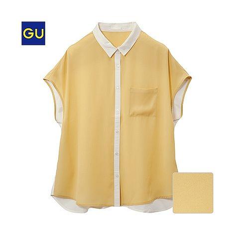¥990(GU)シフォンコンビブラウス(半袖) - GU ジーユー