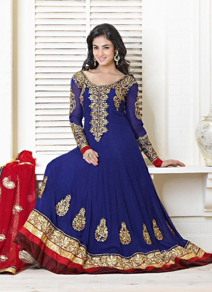 Embroidered faux georgette anarkali suit crafted by thread work, embroidered yoke and sleeves, motifs, zari, sequins and patch border. It is paired with a matching bottom along with a fabulous dupatta...