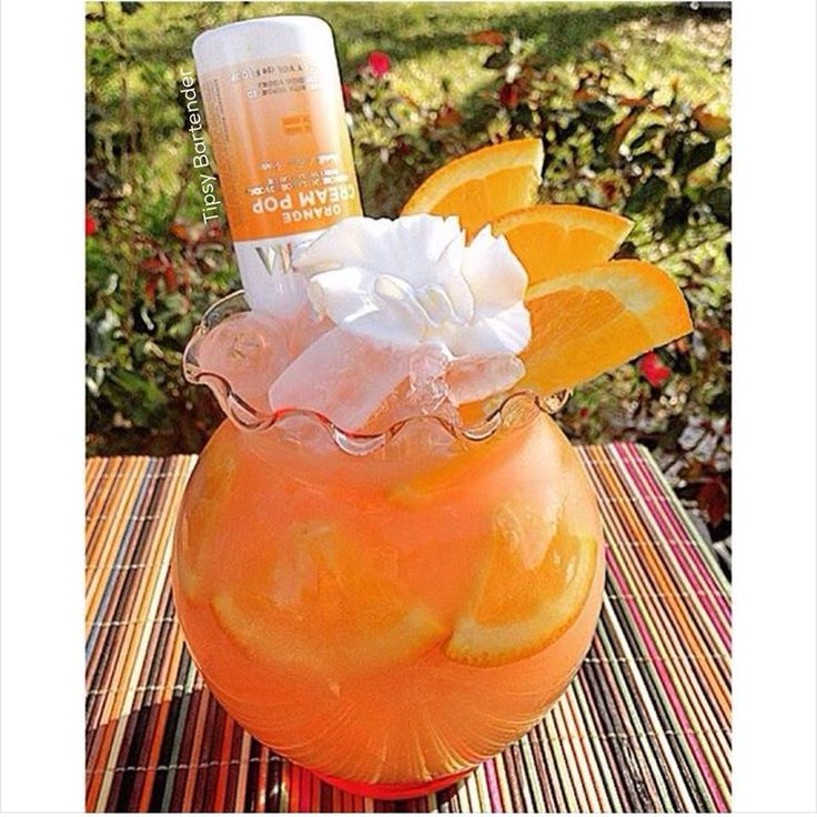 Orange Dreamsicle Cocktail - http://www.tipsybartender.com/Orange+Dreamsicle+Cocktail How about a taste of extra creamy goodness? Try our Orange Dreamsicle Cocktail! Our Orange Dreamsicle Cocktail is made with Triple Sec, Whipped Vodka, Grenadine, Rockstar, and Orange Cream Pop! Garnish: Orange slices and Whipped cream + 1 oz (30ml) Triple Sec + 1 oz...