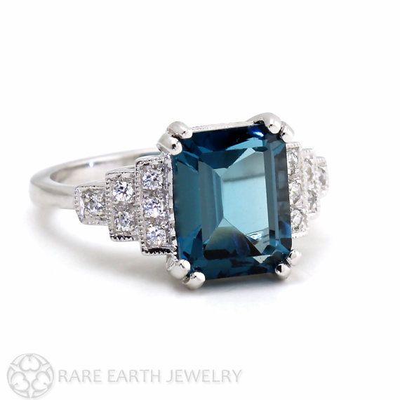 Vintage Ring Art Deco Ring London Blue Topaz Ring Diamond Antique Milgrain 14K or 18K Gold December Birthstone Gemstone Ring