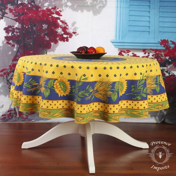 Tournesol Blue Yellow French Provencal Tablecloth Round