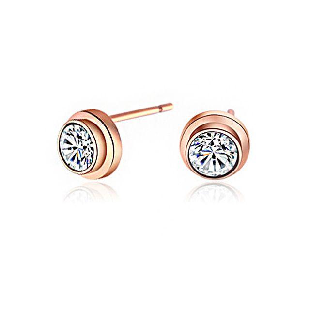 18K Rose Gold Round Cubic Zircon Ear Stud Earrings For Women Valentine's Gifts