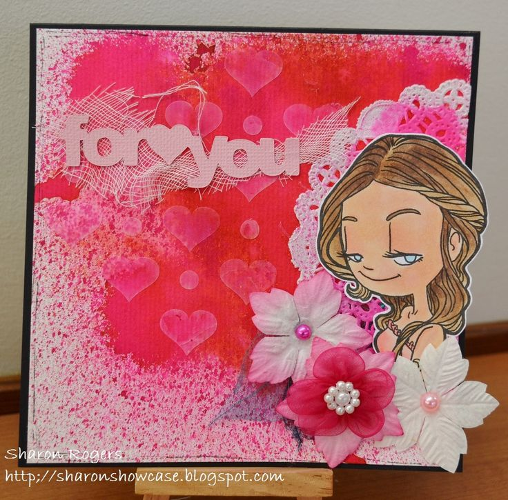 Mixed Media, Handmade Card, Cameo Silhouette, Pink, Some Odd Girl, Flowers, Ink Sprays, Texture Paste, Stencil, http://sharonshowcase.blogspot.com