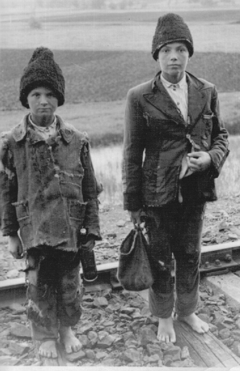 Homeless Russian children in occupied territory, c. 1942