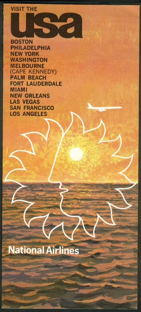 National Airlines Visit the USA airline folder 1968 in Spanish