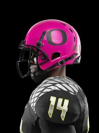 Real men wear pink!                                   Oregon Ducks breast cancer awareness uniforms.      AWESOME.