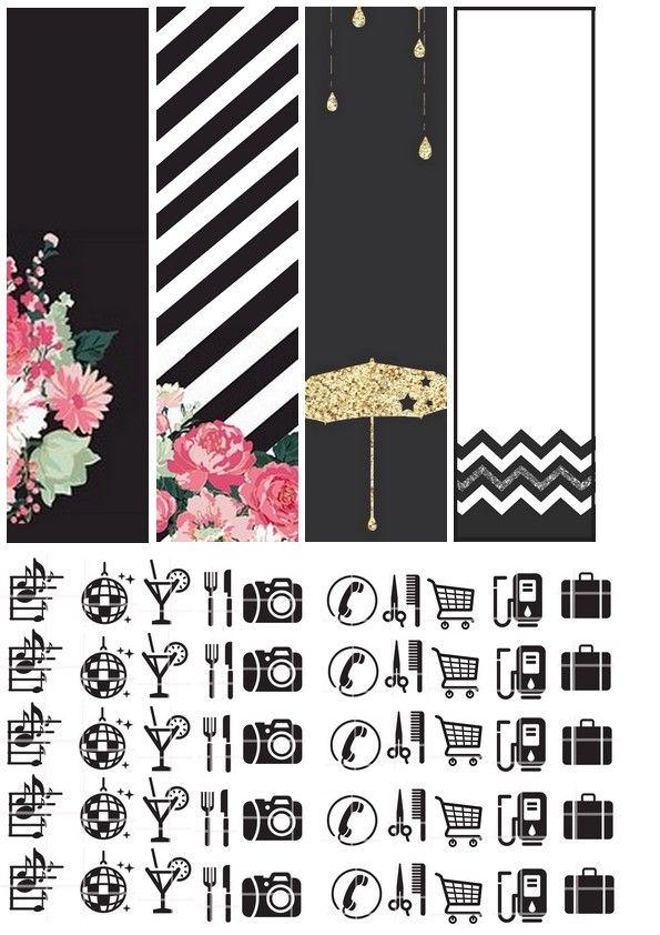 noir&blanc floral rose à imprimer et dcouper pour décorer les planners