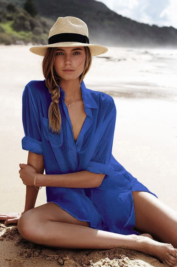 380eeab8646b9  32.67 - Nice Saida De Praia Beach Dress Tunic Pareos For Women Kaftan 2018  New Cotton Shirt Long Sleeve Size Sexy Beach Cover Up Pareo Praia - Buy it  Now!