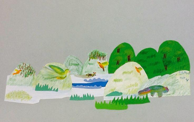 """9-10 jaar - Kleurpotlood en gekleurd papier - naar verhaal """"IETS"""""""