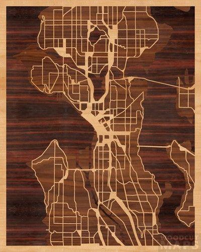 Custom wood cut map of SeattleWoodcut Maps