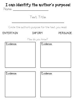 Reading response graphic organizer for identifying the author's purpose and providing text evidence as support.