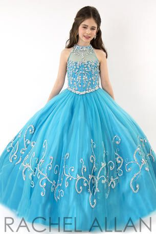 Perfect Angel soft tulle ball gown with nigh neckline and AB stones.