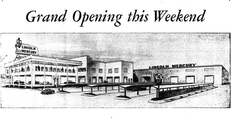 THE WESTSIDE - WEST L.A.:  New Lincoln-Mercury dealership located at 11750 Wilshire (corner of Stoner Avenue), West L.A., CA  90025, opened in May 1953.