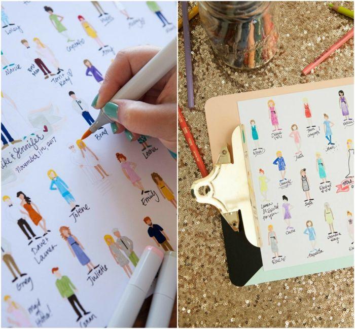 Lustige Idee für Hochzeitsgästebuch, alle Hochzeitsgäste aufzeichnen, Namen und Unterschriften