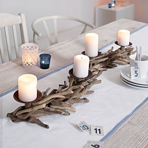 Long driftwood candle holder.