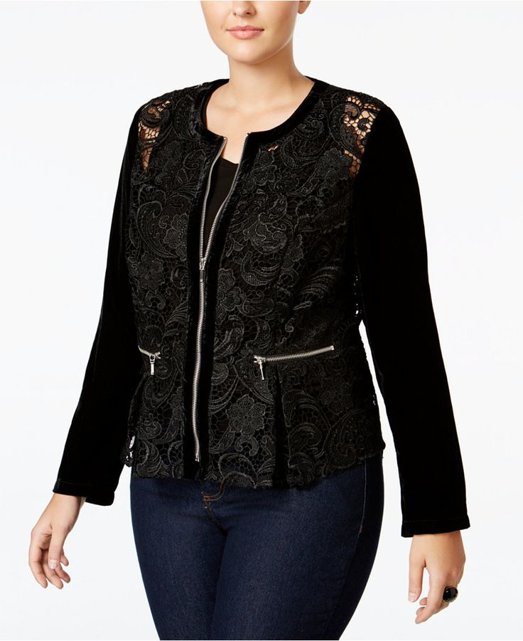 INC International Concepts Plus Size Velvet-Sleeve Lace Peplum Jacket, Only at Macy's - Jackets & Blazers - Plus Sizes - Macy's