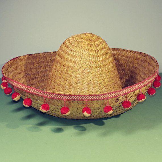 Mexican Sombrero Felt Hat Party Fancy Dress Fiesta Costume Spanish Red Poms