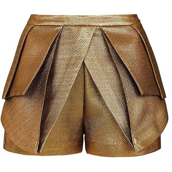 Sass & Bide The Literary Hero Pleated Shorts ($320) ❤ liked on Polyvore featuring shorts, bottoms, pants, short, gold, crop shorts, sass & bide, tailored shorts, short shorts and pleated shorts