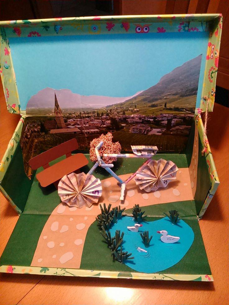 Geldgeschenk für ein Fahrrad in verschließbarem Schuhkarton  mit Ententeich aus Moosgummi