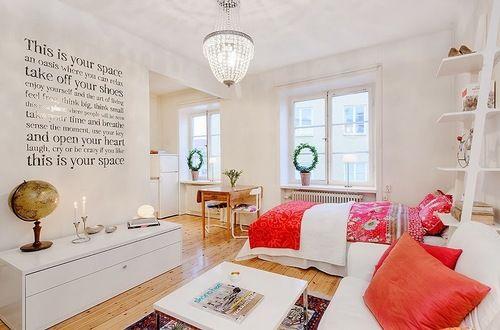 Jurnal de design interior - Amenajări interioare : Garsonieră cu accente de roșu