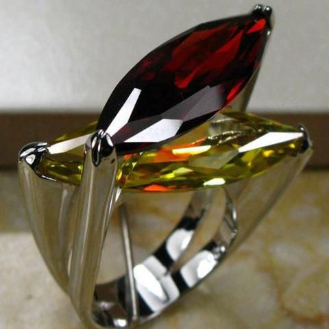 Huge Designer Garnet Citrine Ring Plus Free Red Rose Gift Box - UCHARMME.co.nz - 1