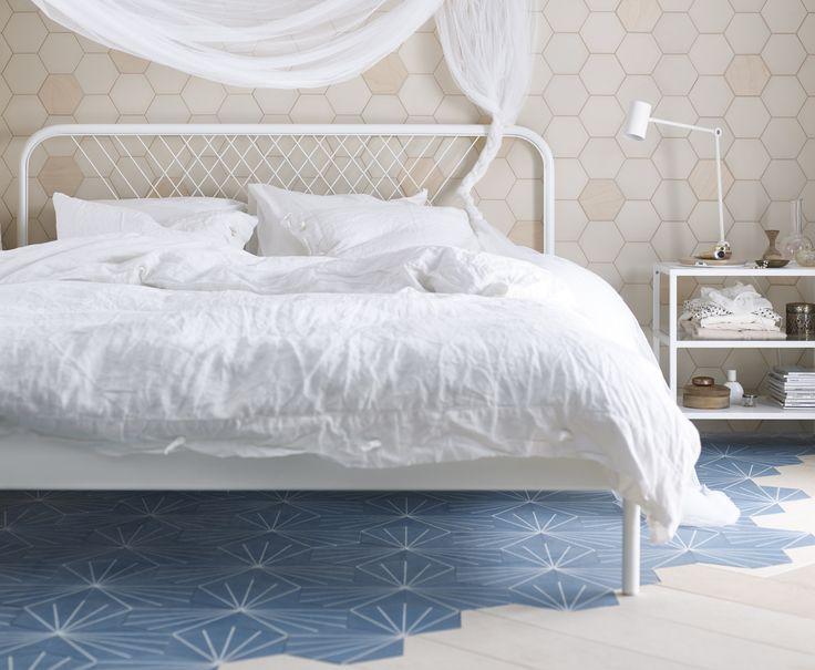 NESTTUN bedframe | #IKEA #IKEAnl #Scandinavisch #modern #wit #tweepersoons #bed #slaapkamer
