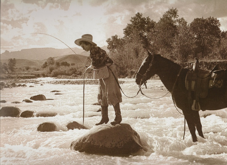 This photo features Annie Belden taken by her husband and well-known Rocky mountain photographer, Charles Belden on the Pitchfork Ranch in Cody, Wyoming, circa 1935.Belden Photographers, Fly Fish, Pitchfork Ranch, Charles Belden, About 1935, Annie Belden, Old Photos, Cody Wyoming, Photos Features