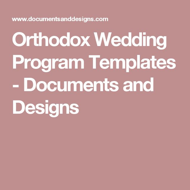 Orthodox Wedding Program Templates - Documents and Designs