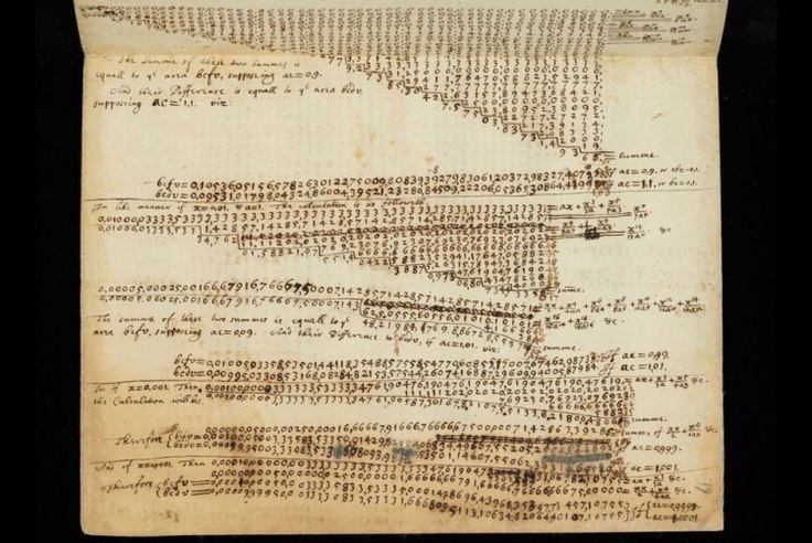 Calculations by Sir Isaac Newton