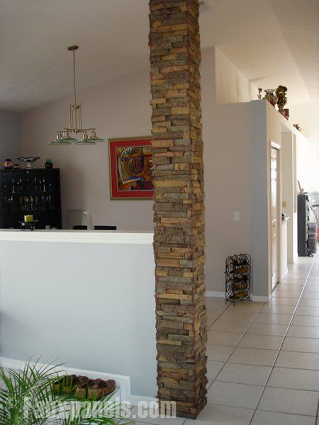 These stone columns made from polyurethane are an affordable alternative to real stone.
