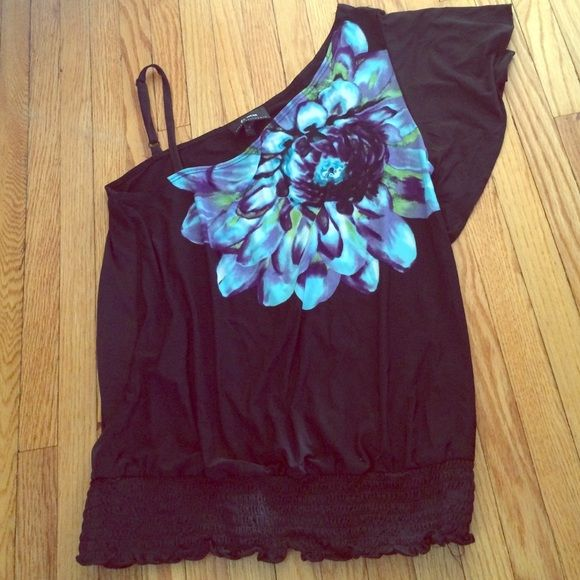 Medium black going out top B wear EUC flower EUC silky black going out or professional top. Has a big purple blue and green flower. One flowy sleeve one spaghetti strap. Rouched bottom. Bundle and save 15%! B Wear Tops Blouses