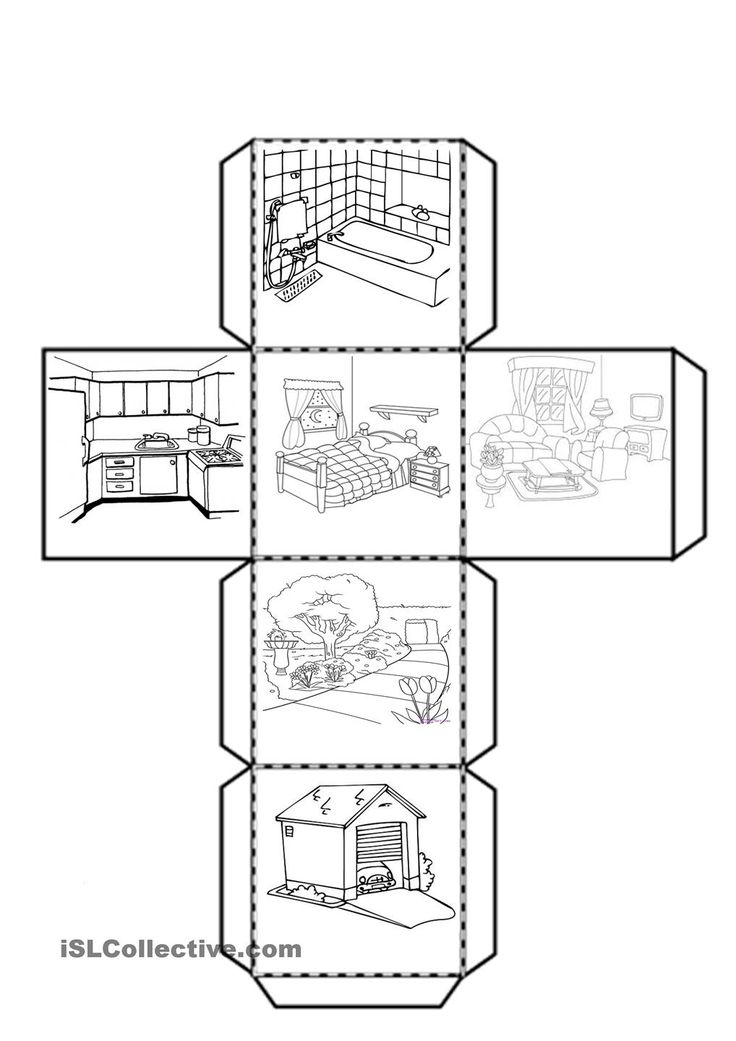 Cube with the parts of the house worksheet - Free ESL printable worksheets made by teachers