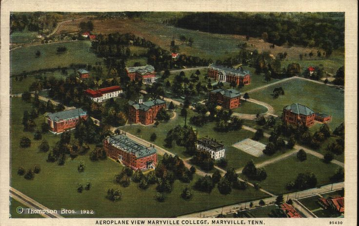 Vintage Early Linen Postcard Aeroplane View Maryville