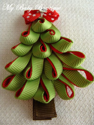 Toddler Girls Hair Bow - Green and Red Christmas Tree Clip. $4.50, via Etsy.