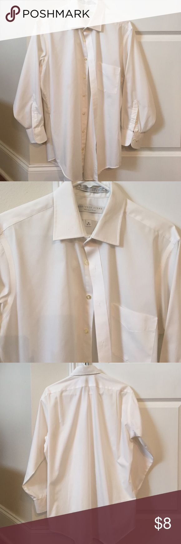 Geoffrey Beene shirt 16 White wrinkle free shirt in good used condition.  Size 16 32/33 just a tiny pit spec mark in collar that should come off w spray n wash. Geoffrey Beene Shirts Dress Shirts