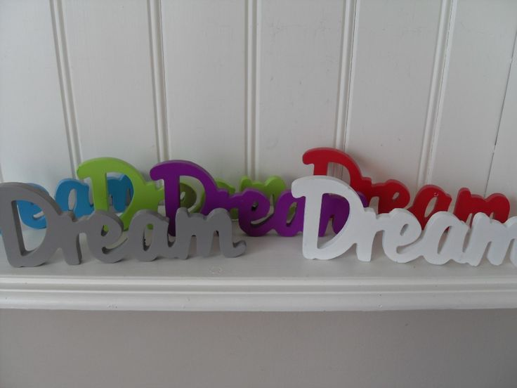 SHABBY DREAM RELAX LOVE OR HOME WOOD WORD WHITE GREY GREEN PURPLE RED BLUE CHIC