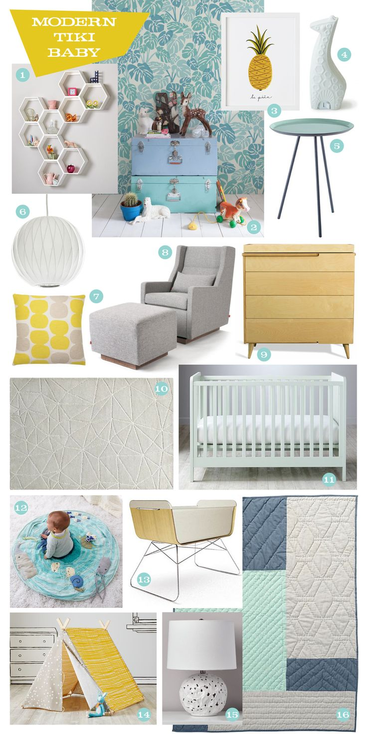 Some great gender neutral finds to create a fun, modern, and tropical nursery!