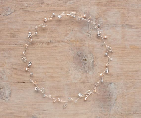 Rockham Bridal Hair Garland with blush coloured Freshwater pearl and Swarovski crystal