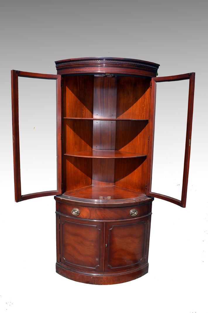 18133 Mahogany Corner Curved Glass China Closet by Drexel- Travis Court  Collection - Maine Antique - 117 Best Antique Dining Room Furniture Images On Pinterest