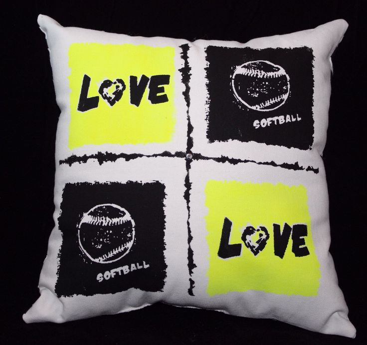 Design Your Own Softball Sports Pillow! You Choose Design And Ink Colors.  This Style
