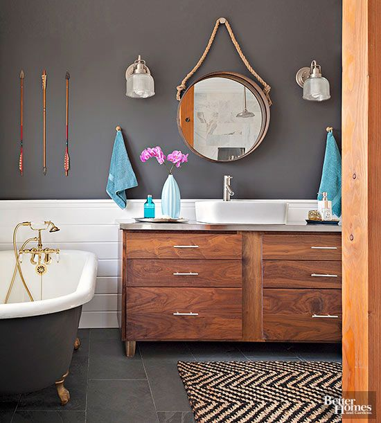 The secret to a fab bathroom color combination? The perfect paint color.