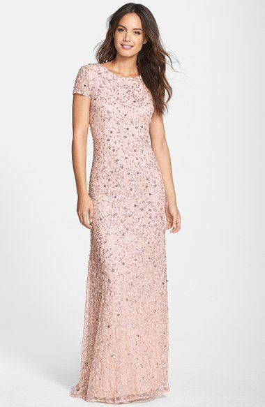 Adrianna Papell Short Sleeve Sequin Mesh Gown (Regular & Petite) | Nordstrom