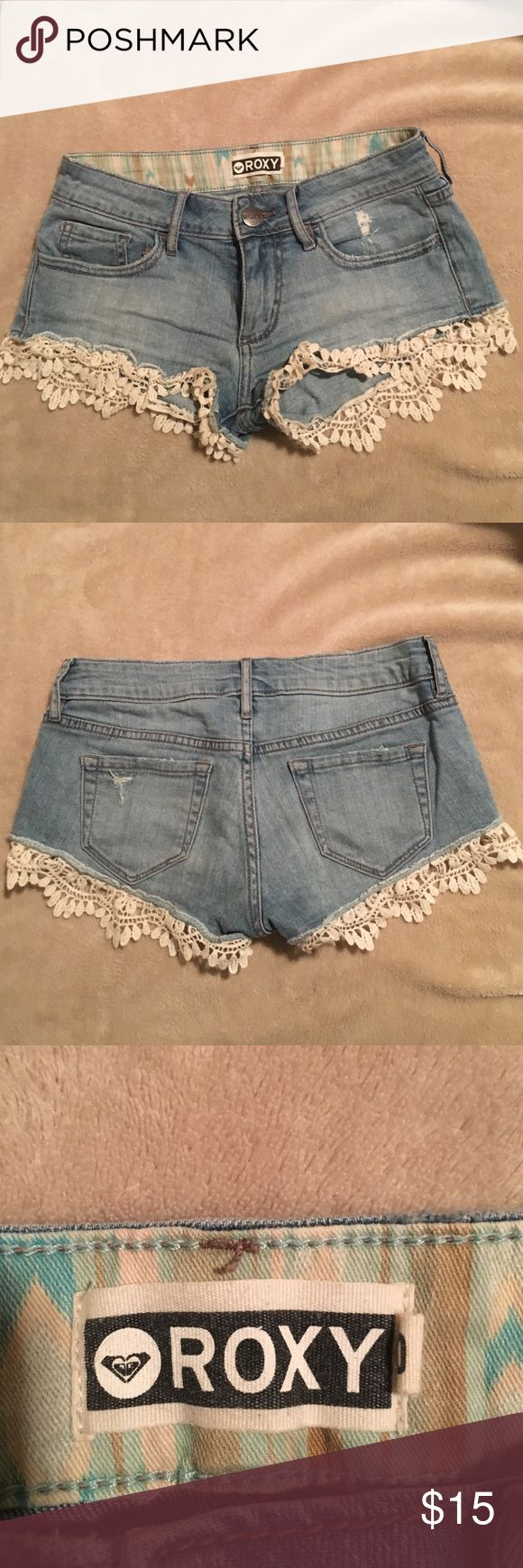 ROXY jean shorts with lace super comfy jean shorts with cute lace at the bottom Roxy Shorts Jean Shorts
