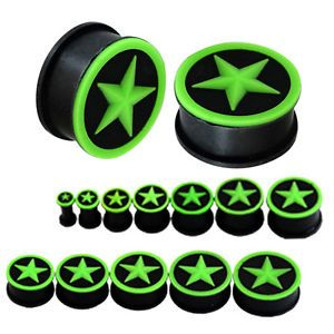 GREEN-STAR-BLACK-SILICONE-EAR-PLUGS-Stretchers-Jewellery-Piercing-Tunnels-PL77