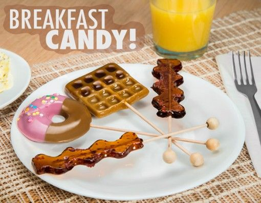 Breakfast Candy/ This 4-pack of lollipops are a delicious way to enjoy breakfast, anytime of day! Breakfast Lollipops are hand-poured hard candies that are crafted to look like bacon, doughnuts and waffles. The Doughnut is...  http://shopfor20.com/product/breakfast-lollipops/
