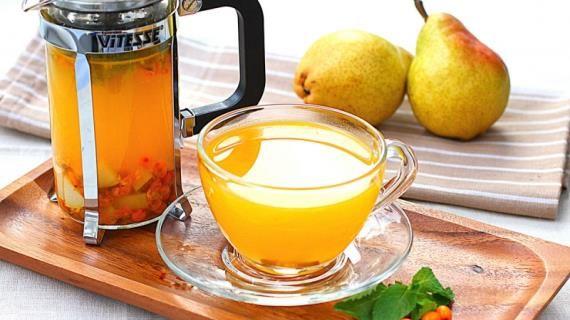 Облепиховый чай с мятой и грушей, пошаговый рецепт с фото